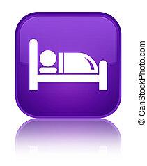 Hotel bed icon special purple square button