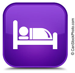 Hotel bed icon special purple square button