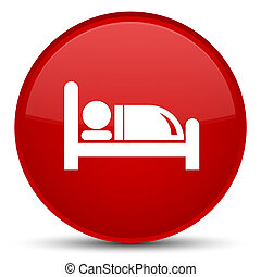 Hotel bed icon special red round button