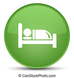 Hotel bed icon special soft green round button
