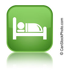 Hotel bed icon special soft green square button
