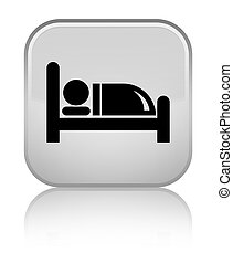Hotel bed icon special white square button