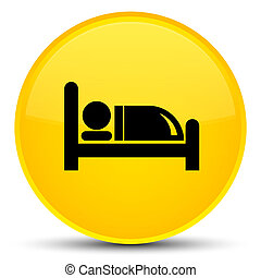 Hotel bed icon special yellow round button