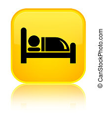 Hotel bed icon special yellow square button