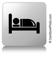 Hotel bed icon white square button
