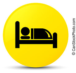 Hotel bed icon yellow round button
