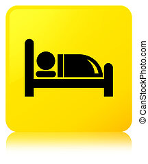 Hotel bed icon yellow square button