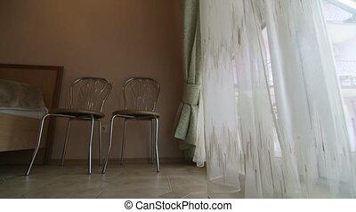 Hotel bedroom interior design with glass door window dolly shot