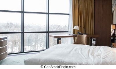 Hotel bedroom with beautiful view