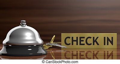 Hotel bell and room keys on a wooden background. 3d illustration