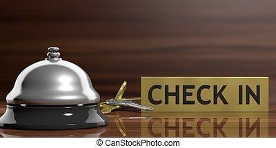 Hotel bell and keys on a reception desk. 3d illustration -...