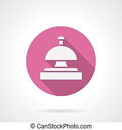 Hotel bell pink round vector icon