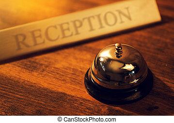 hotel, biurko, czek, recepcyjny dzwon