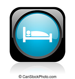 hotel black and blue square web glossy icon