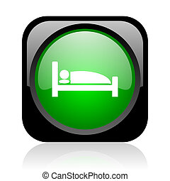 hotel black and green square web glossy icon