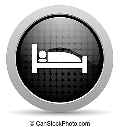 hotel black circle web glossy icon