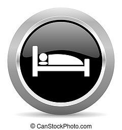 hotel black metallic chrome web circle glossy icon