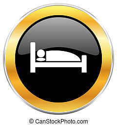Hotel black web icon with golden border isolated on white background. Round glossy button.