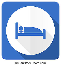 hotel blue flat icon bed sign