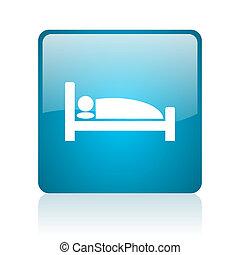 hotel blue square web glossy icon