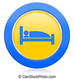 hotel blue yellow icon bed sign