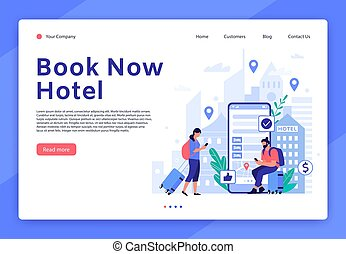 Hotel booking website. Mobile app for tourists and travellers, hotel room reservation digital service concept vector landing page template. Apartment search tool. People with luggage illustration