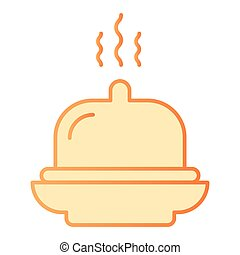 Hotel breakfast flat icon. Dish orange icons in trendy flat style. Tray gradient style design, designed for web and app. Eps 10.