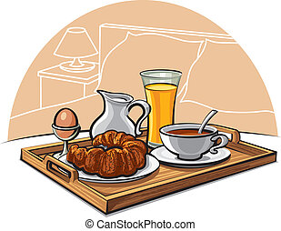 hotel breakfast - Tray with breakfast on a bed in a hotel...