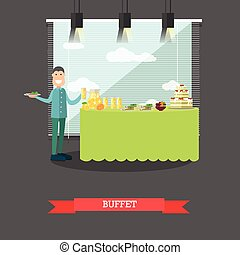Hotel buffet vector illustration in flat style