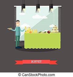hotel, buffet, vector, ilustración, en, plano, estilo