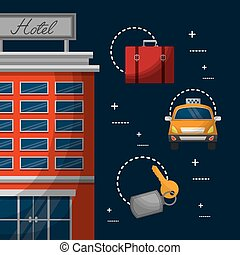 hotel building billboard in roof with taxi suitcase