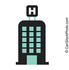 hotel building h icon vector isolated graphic