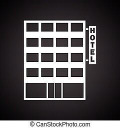 Hotel building icon. Black background with white. Vector...