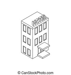 Hotel building icon, isometric 3d style