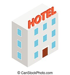 Hotel building isometric 3d icon
