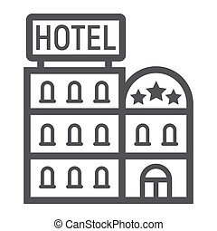 Hotel Building Line Icon Travel And Tourism