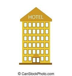 Hotel building on white background. Vector illustration EPS 10.