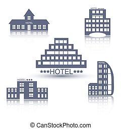 Hotel buildings flat design set
