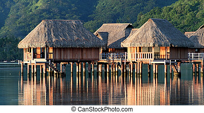 Hotel bungalows over Moorea lagoon