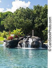 hotel, cachoeira, piscina, natação