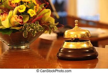 hotel, campana, recepción