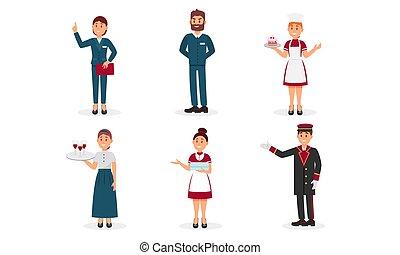 hotel, caracteres, amistoso, cortés, personal, vector,...