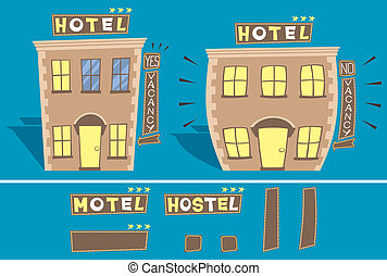 Hotel - Cartoon illustration of small hotel in 2 versions:...
