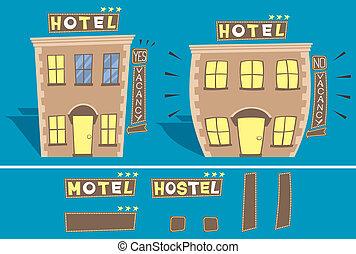 Hotel - Cartoon illustration of small hotel in 2 versions:...