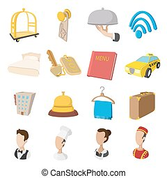 Hotel cartoon style icons set
