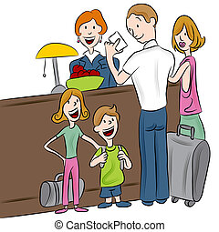 Hotel Check-in Family - An image of a family checking into a...