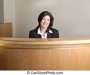 Hotel Check In - Modern Hotel Check In Desk, With Smiling...
