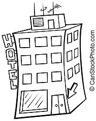 Hotel - Black and White Cartoon illustration, Vector