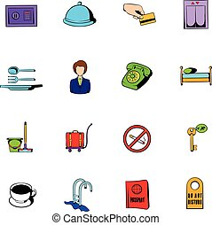 Hotel comics icons set cartoon