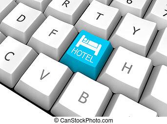 hotel, computadora, reservación, llave